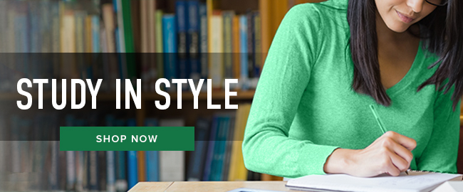 Picture of a woman writing. Study in Style. Click to shop now.