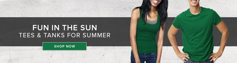 Picture of students. Tees and tanks for summer. Click to shop now.